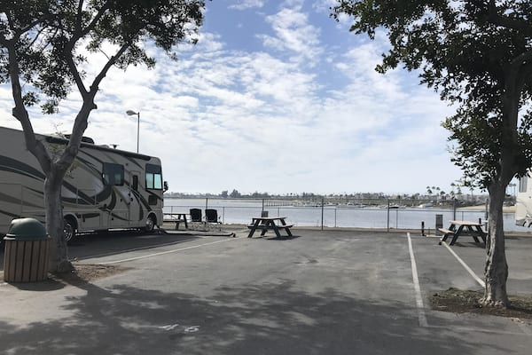 Mission Bay RV Resort-sample bay view RV site in San Diego