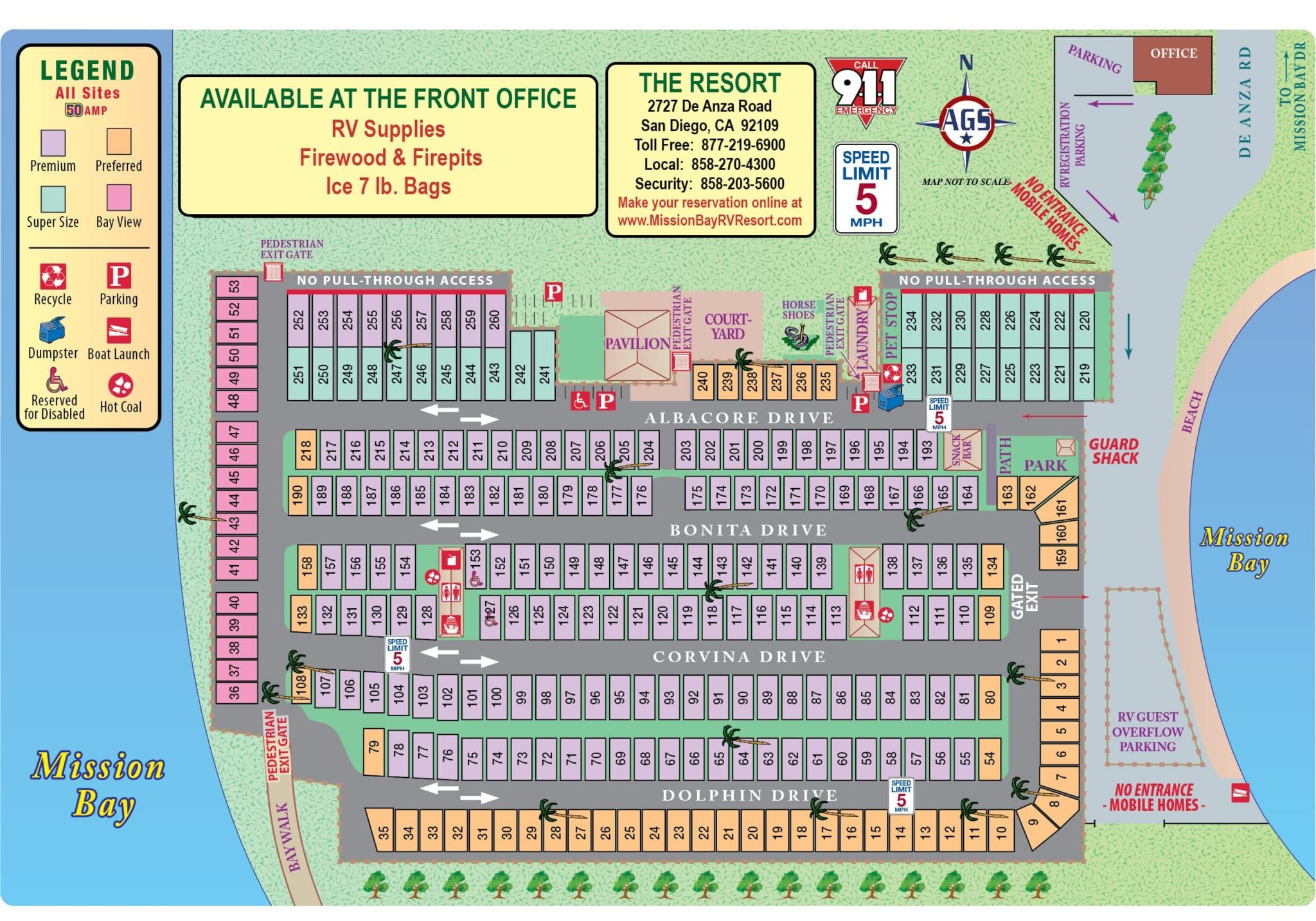 site map mission bay rv resort