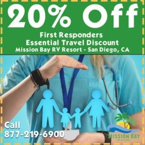 Ad offering 20% discount for First Responders to stay at Mission Bay RV Resort. Offer good through February 28, 2021.