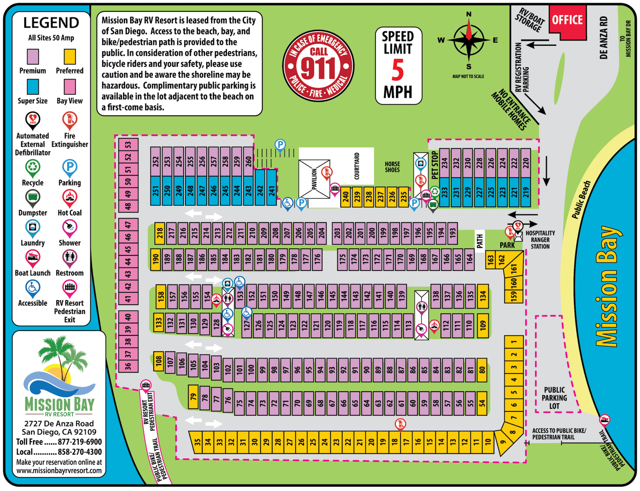 Image shows resort map with amenities, site numbers and location, and public access to the beach and parking.